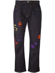 Fendi Floral Embroidered Jeans Blue