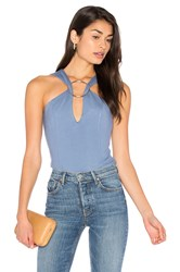 Lavish Alice Metal Ring Plunge Bodysuit Blue