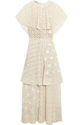 Stella Mccartney Appliqued Tiered Cotton Blend Lace Maxi Dress Ivory