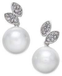 Inc International Concepts Silver Tone Pave And Imitation Pearl Leaf Stud Earrings Only At Macy's