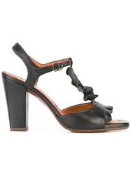 Chie Mihara Ruffle Front Sandals Black