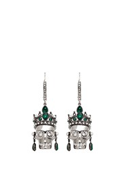 Alexander Mcqueen Swarovski Crystal Royal Skull Earrings Green