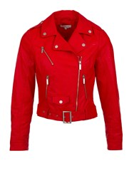 Morgan Faux Leather Biker Style Jacket Red
