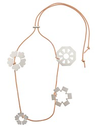 Tory Burch Abstract Floral Charm Necklace Brown