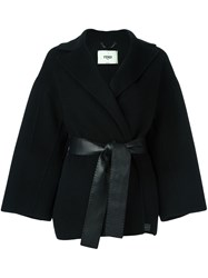 Fendi Belted Wrap Coat Black