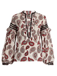 Dodo Bar Or Bill Paisley Print Silk Blouse White Print