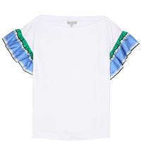 Emilio Pucci Cotton T Shirt With Ruffled Sleeves White