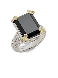 Judith Ripka Estate Black Onyx White Sapphire And Sterling Silver Ring