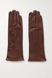 Agnelle Grace Leather Gloves Brown