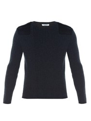 Valentino Contrast Knit Crew Neck Sweater Navy