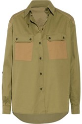 Belstaff Fatigue Two Tone Cotton Twill Shirt Army Green