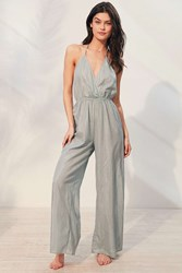 Out From Under Winona Wide Leg Jumpsuit Blue