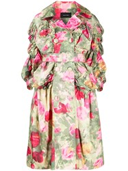 Simone Rocha Ruched Sleeve Floral Coat Green