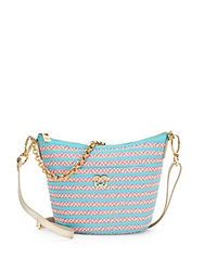 Eric Javits Dame Lil Woven Striped Satchel Pink Blue