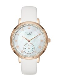 Kate Spade White And Rose Gold Pave Monterey Multifunction Watch White Rose Gold