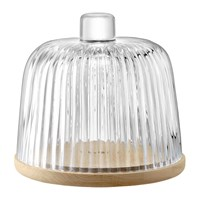 Lsa International Pleat Glass Dome And Oak Base