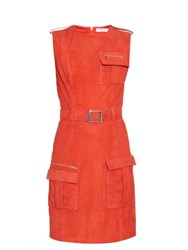 Thierry Mugler Front Pocket Belted Suede Dress Red