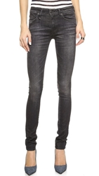 R 13 The Alison Mid Rise Ankle Skinny Jeans Dirty Black