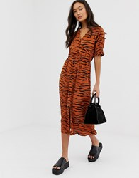 Influence Shirred Sleeve Midi Dress With Button Down Front In Tiger Print Multi