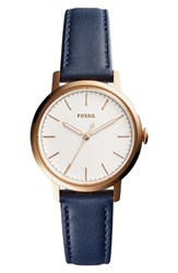 Fossil Women's Neely Leather Strap Watch 34Mm Blue Silver Rose Gold