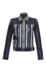 Versace Color Block Leather Jacket Blue Grey