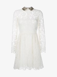 Valentino Sequin Embellished Lace Long Sleeve Dress Off White Metallic Gold