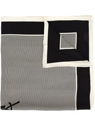 Saint Laurent Striped Monogram Scarf Black