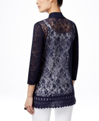 Jm Collection Petite Lace Back Cardigan Only At Macy's Deep Black