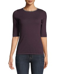 Neiman Marcus Superfine Cashmere Chain Trim Half Sleeve Sweater Eggplant