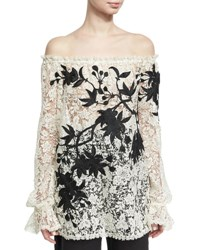Naeem Khan Off The Shoulder Embroidered Floral Lace Top Black White Black White