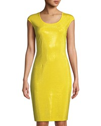 Grayse Micro Studded Cap Sleeve Sheath Dress Yellow