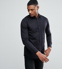 Selected Homme Tall Slim Shirt With Tipped Collar Black