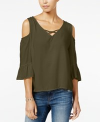 One Hart Juniors' Cold Shoulder Ruffle Sleeve Blouse Only At Macy's Forest Moss