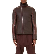 Rick Owens High Collar Shearling Jacket Ox Blood