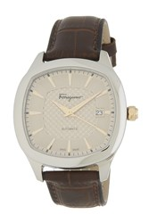 Salvatore Ferragamo 'S Time Guilloche Dial Croc Embossed Leather Strap Watch 41Mm Stainless Steel