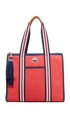 Tory Burch Preppy Canvas Ns Tote Cherry Apple
