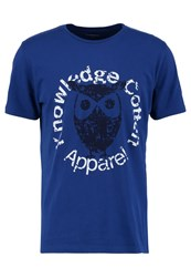 Knowledge Cotton Apparel Owl Print Tshirt Blue