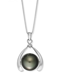 Macy's Sterling Silver Necklace Cultured Tahitian Pearl 11Mm And Diamond Accent Pendant