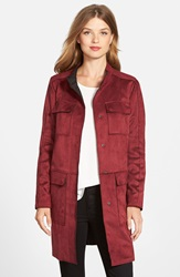 Vince Camuto Bonded Faux Suede Retro Coat Oxblood