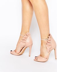 Forever Unique Camden Leather Heeled Sandals Nude