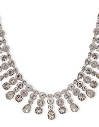 Givenchy White Metal And Glass Stone Imitation Rhodium Drama Collar Necklace Silver
