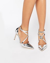 Miss Kg Shelby Cross Strap Point Heeled Shoes Silver Synthetic