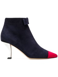 Thom Browne Leather Ankle Boots Blue
