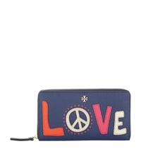 Tory Burch Peace Zip Around Wallet Female Navy