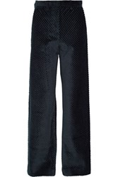 Maison Martin Margiela Cotton Corduroy Wide Leg Pants Midnight Blue