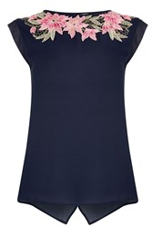 Oasis Lace Trim Tee Navy