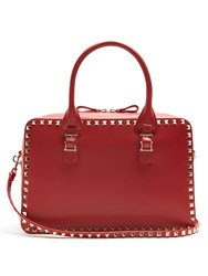 Valentino Rockstud Leather Bowling Bag Red