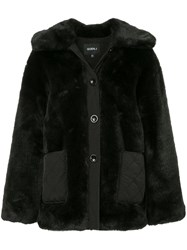Goen.J Oversized Faux Fur Jacket Black