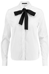 Karl Lagerfeld Karly Pussy Bow Stretch Cotton Blend Shirt White