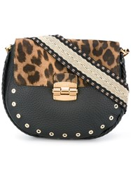 Furla Leopard Print Shoulder Bag Black